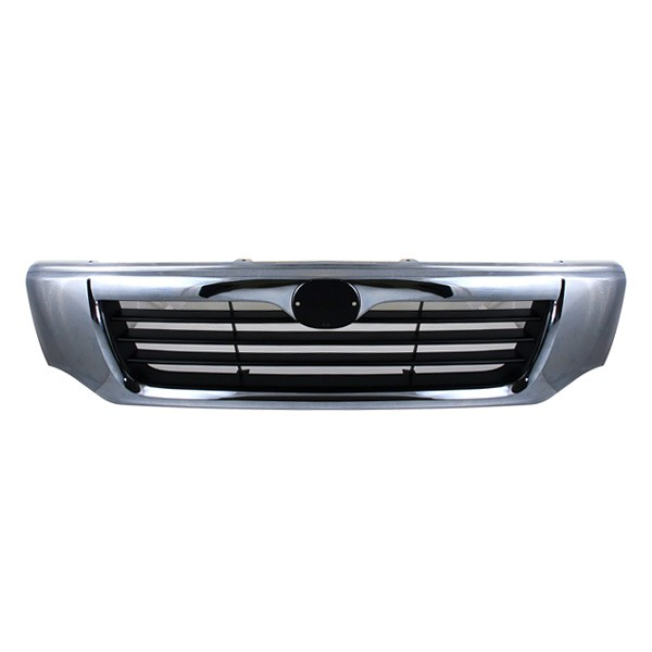 98-00 MAZDA PICKUP B2500 GRILLE CHROME FRAME PAINTED BLACK BAR INSERT ...
