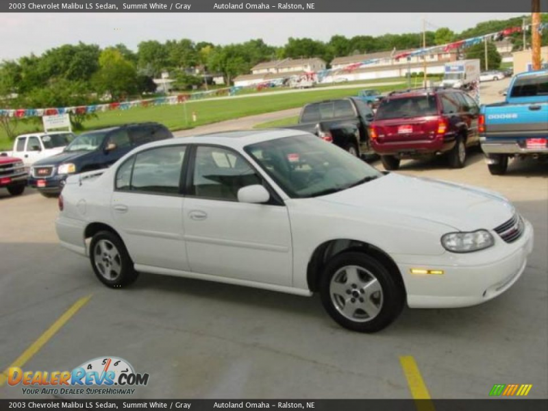 2003 Chevrolet Malibu LS Sedan Summit White / Gray Photo #3