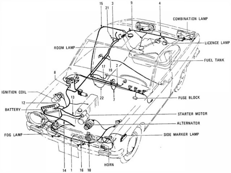 Datsun Sunny 1200 Parts illustration no. 027-2 Wiring (Coupe)