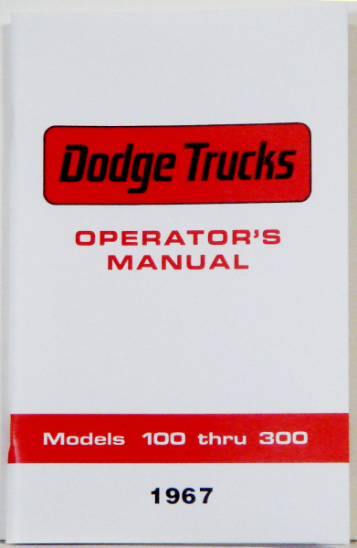 1967 Dodge Truck Owners Manual