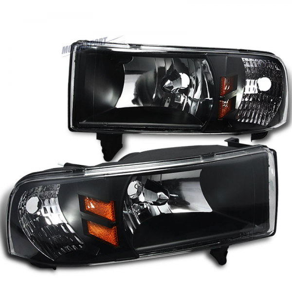 Headlight Set Fit 94-01 Dodge Ram 1500/2500/3500 Pickup Truck Black ...
