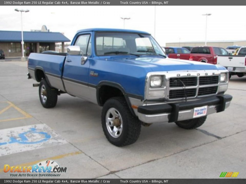 1992 Dodge Ram 250 LE Regular Cab 4x4 Banzai Blue Metallic / Gray ...
