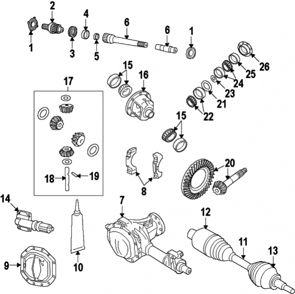 FRONT DRIVE AXLE / DRIVE AXLES / DIFFERENTIAL / DIFFERENTIAL CASE