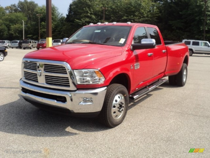 2012 Flame Red Dodge Ram 3500 HD Laramie Longhorn Crew Cab 4x4 Dually ...