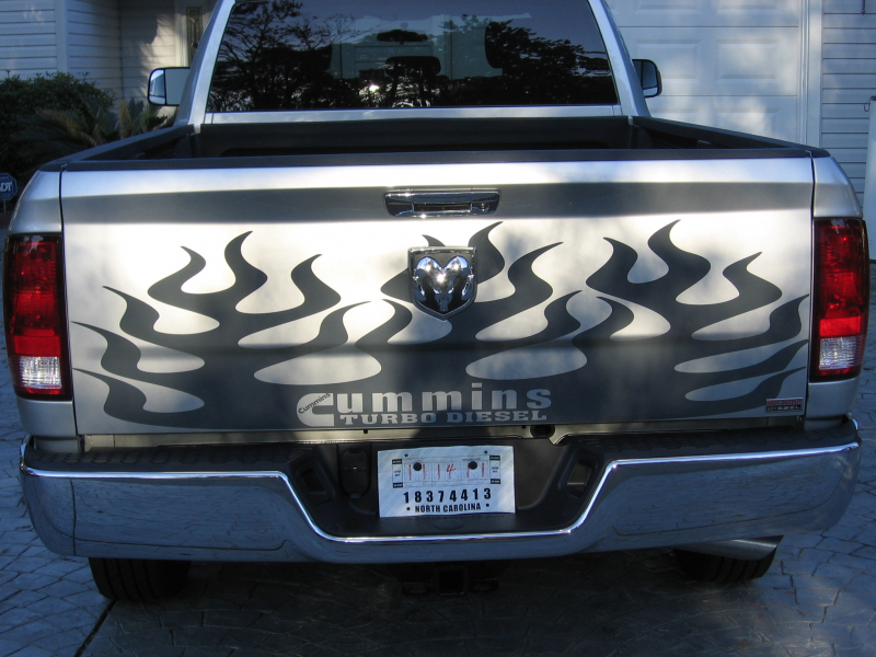 2009-2012 DODGE RAM 2500 or 3500 Tailgate flames Flames graphic decal