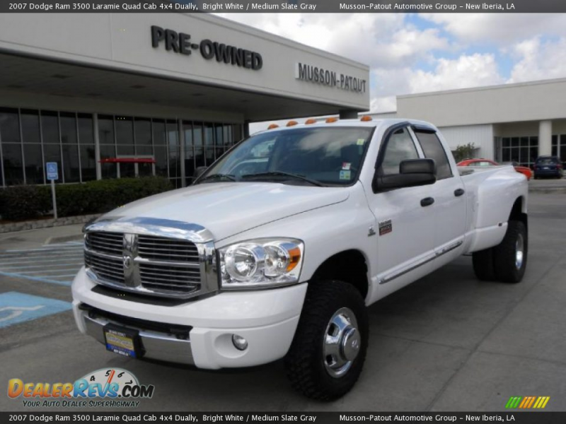 2007 Dodge Ram 3500 Laramie Quad Cab 4x4 Dually Bright White / Medium ...