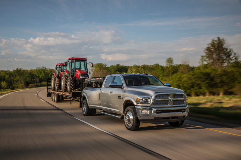 2014 Ram 3500 Front Three Quarters In Motion Tow