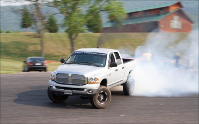 Lifted Dodge Ram Drifting