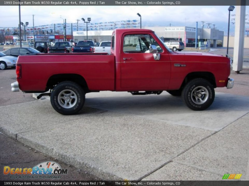 1993 Dodge Ram Truck W150 Regular Cab 4x4 Poppy Red / Tan Photo #4