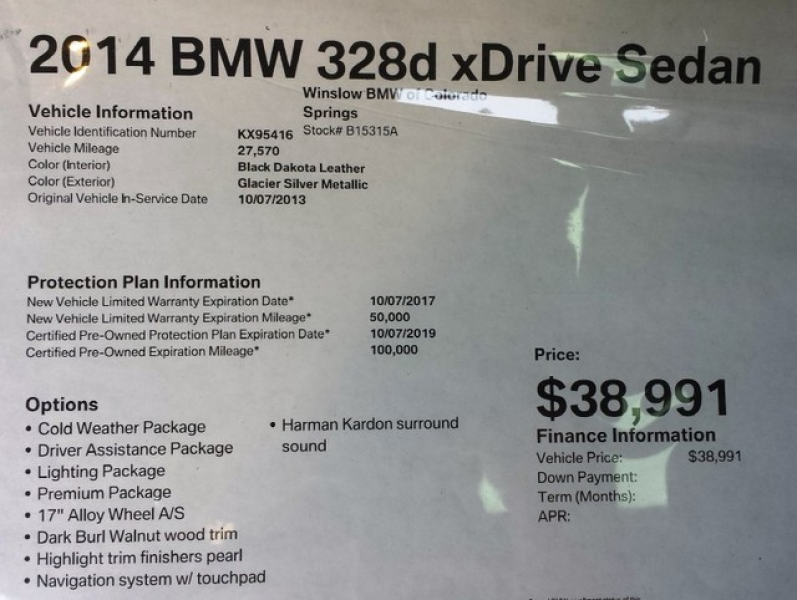 2014 BMW 3 Series 328d XDrive For Sale in Colorado Springs, CO ...