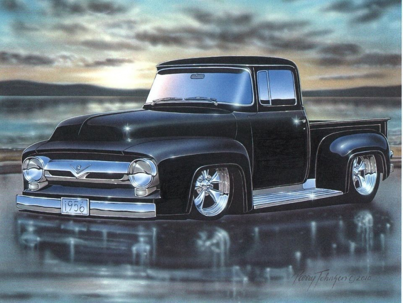 1956 Ford F100 Pickup Truck Hot Rod Art Print black