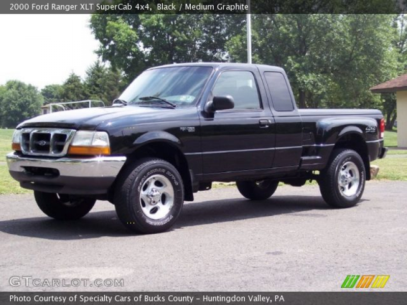 2000 Ford Ranger XLT SuperCab 4x4 in Black. Click to see large photo.
