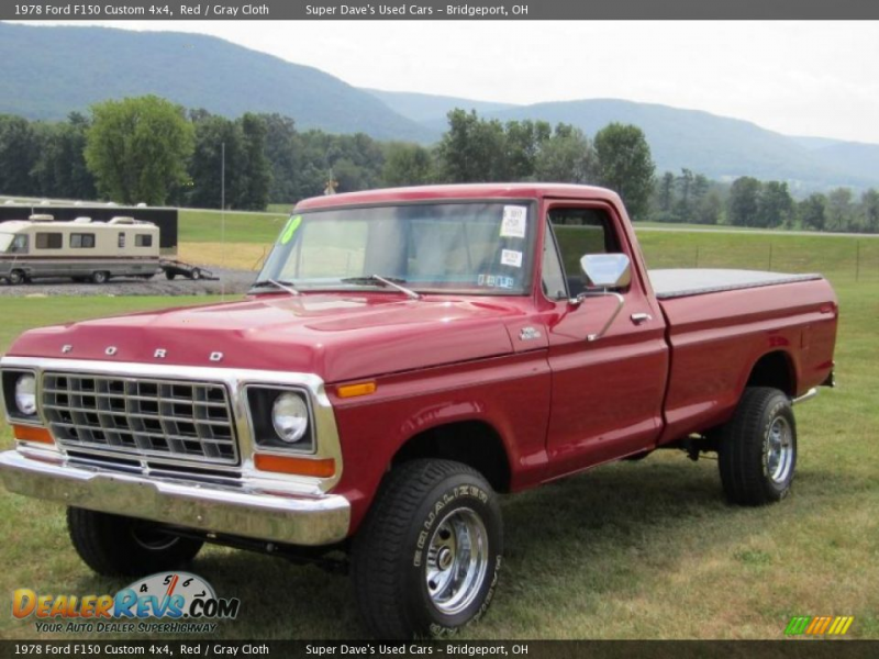 1978 Ford F150 Custom 4x4 Red / Gray Cloth Photo #14