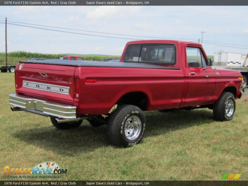 1978 Ford F150 Custom 4x4 Red / Gray Cloth Photo #2