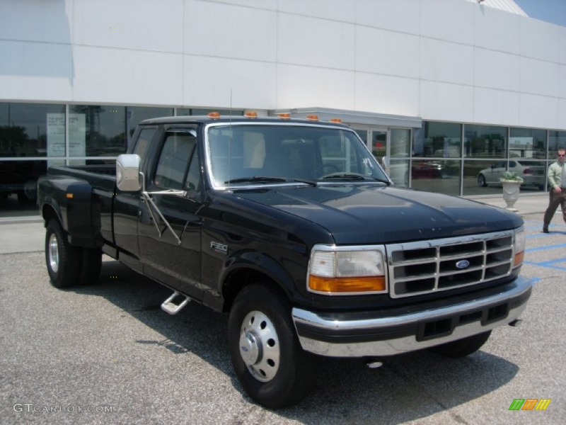 1997 F350 XLT Extended Cab Dually - Black / Opal Grey photo #1