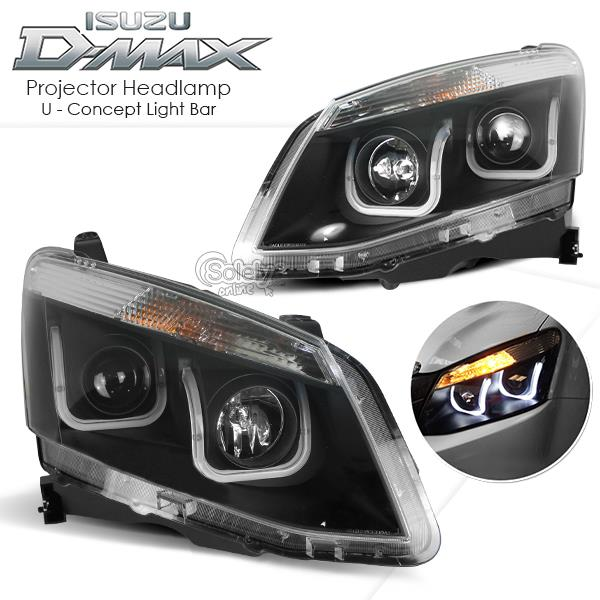 ISUZU D-Max 2012-ON LED U Concept Light Bar Black Housing Headlight