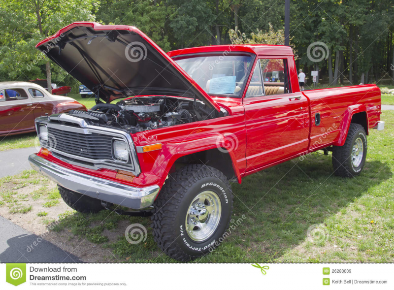 COMBINED LOCKS, WI - AUGUST 18: A red 1979 Jeep Pickup truck at the ...
