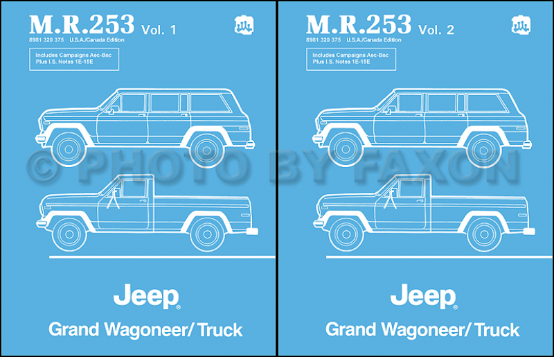 1984-1988 Jeep Grand Wagoneer J10 J20 Truck Repair Shop Manual Reprint ...